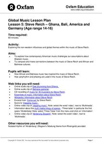 Global Music: Steve Reich – Ghana, Bali, America and Germany Lesson Plan