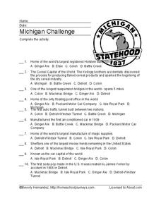 Michigan Challenge Worksheet