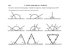Calculate Missing Angles on a Straight Line Worksheet