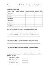 Patterns in Properties of Prisms Worksheet