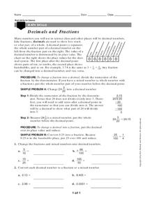 Decimals and Fractions Worksheet
