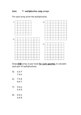 Multiplications Using Arrays Worksheet
