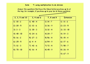 Using Multiplication To Do Division Worksheet