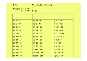 T: Adding by Partitioning Worksheet