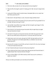 Solve Money and Word Problems Worksheet