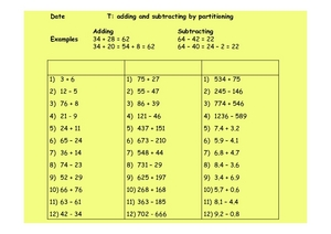 Add and Subtract by Partitioning Worksheet