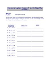 States and Capitals - Lesson 4 - U.S. Political Map Worksheet