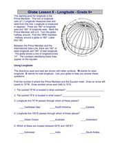 Globe Lesson 6 - Longitude - Grade 6+ Worksheet