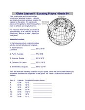 Globe Lesson 8 - Locating Places - Grade 6+ Worksheet