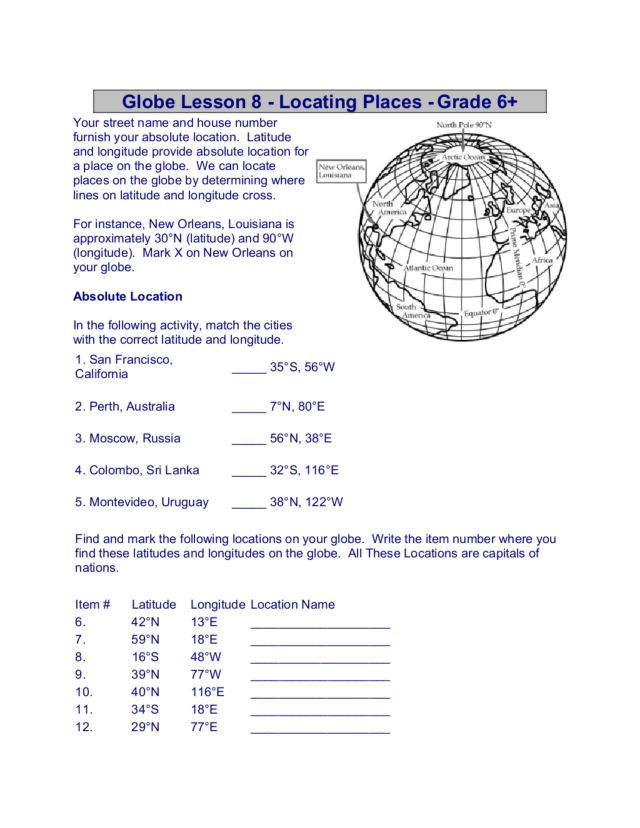 Globe Lesson 8 Locating Places Grade 6 6th 8th In This Absolute Location Worksheet: Relative And Absolute Location Worksheets At Alzheimers-prions.com