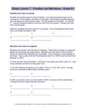 Globe Lesson 7 - Parallels and Meridians - Grade 6+ Worksheet