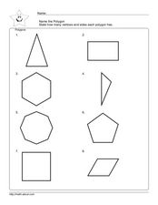 Identifying Polygons, Sides and Vertices Worksheet