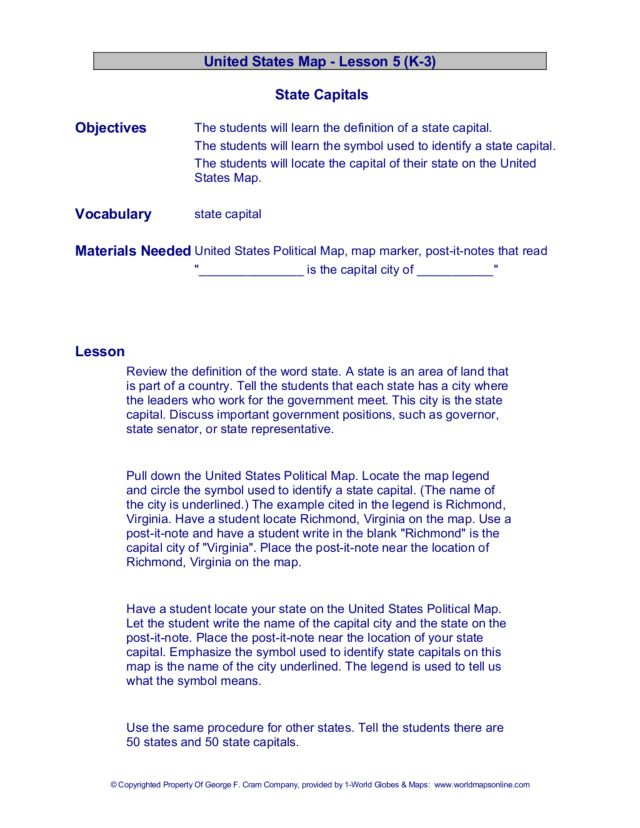 United States Map- State Capitals Lesson Plan for 3rd - 4th Grade ...