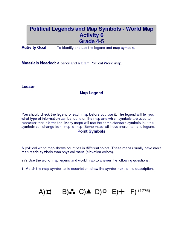 Political Legends and Map Symbols Lesson Plan for 4th - 6th