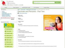 Decimals and Percents - Part Two Lesson Plan