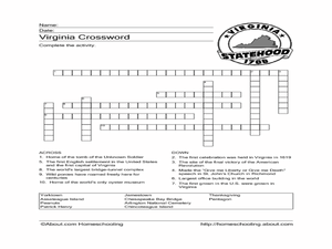 Virginia Crossword Puzzle Worksheet Worksheet