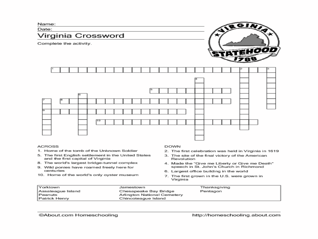 Worksheets History Worksheets For 4th Grade virginia crossword puzzle worksheet 4th 6th grade lesson planet