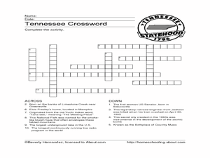Tennessee Crossword Puzzle Worksheet