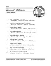 Wisconsin Challenge Worksheet