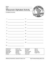 Wisconsin Alphabet Activity Worksheet