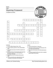 Wyoming Crossword Puzzle Worksheet