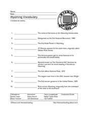 Wyoming Vocabulary Worksheet