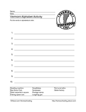 Vermont Alphabet Activity Worksheet