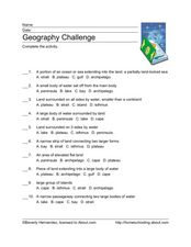 Geography Challenge Worksheet