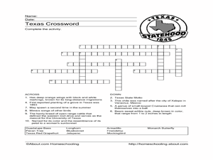 Texas Crossword Puzzle Worksheet for 4th - 5th Grade | Lesson Planet