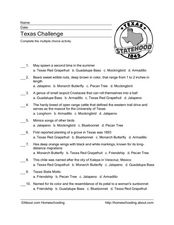 Texas Challenge Worksheet