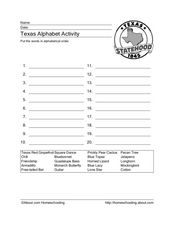 Texas Alphabet Activity Worksheet