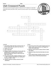 Utah Crossword Worksheet