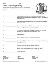 Utah Vocabulary Worksheet