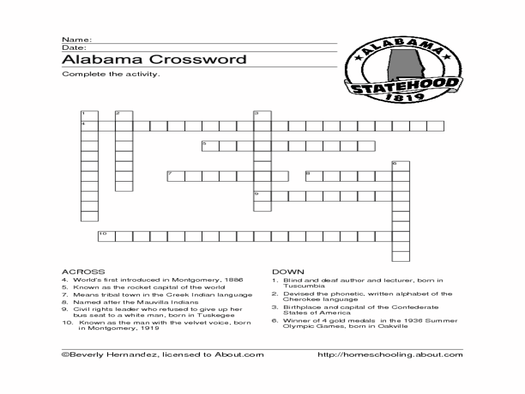 Alabama Crossword Puzzle Worksheet For 4th 6th Grade