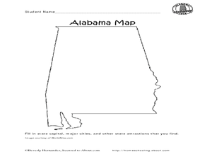 Alabama Map Worksheet