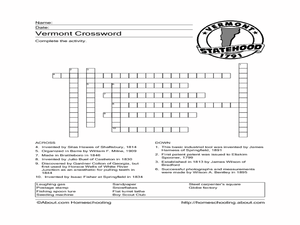 Vermont Crossword Worksheet