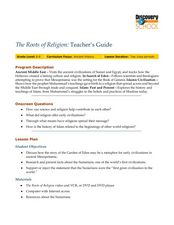 The Roots of Religion:  Teacher's Guide Lesson Plan