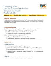 Discovering Math Concepts in Business Mathematics, Economics, and Finance Lesson Plan