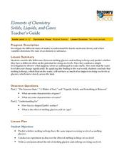 Elements In Chemistry: Solids, Liquids and Gases Lesson Plan