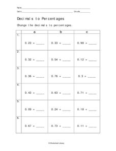 Decimals to Percentages Worksheet