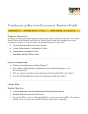 Foundations of American Government: Teacher's Guide Lesson Plan