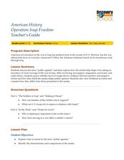 American History Operation Iraqi Freedom Lesson Plan