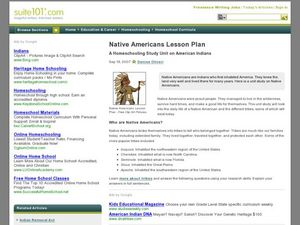 Native Americans Lesson Plan - A Homeschooling Study Unit on American Indians Lesson Plan
