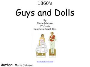 Guys and Dolls Lesson Plan