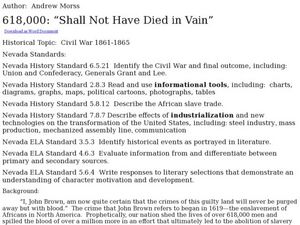 618,000: Shall Not Have Died in Vain Lesson Plan