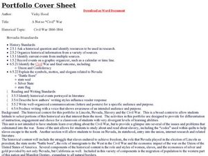 Portfolio Cover Sheet Lesson Plan