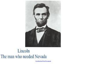 Lincoln: The Man Who Needed Nevada Lesson Plan