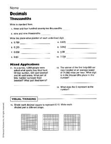 Decimals: Thousandths Worksheet