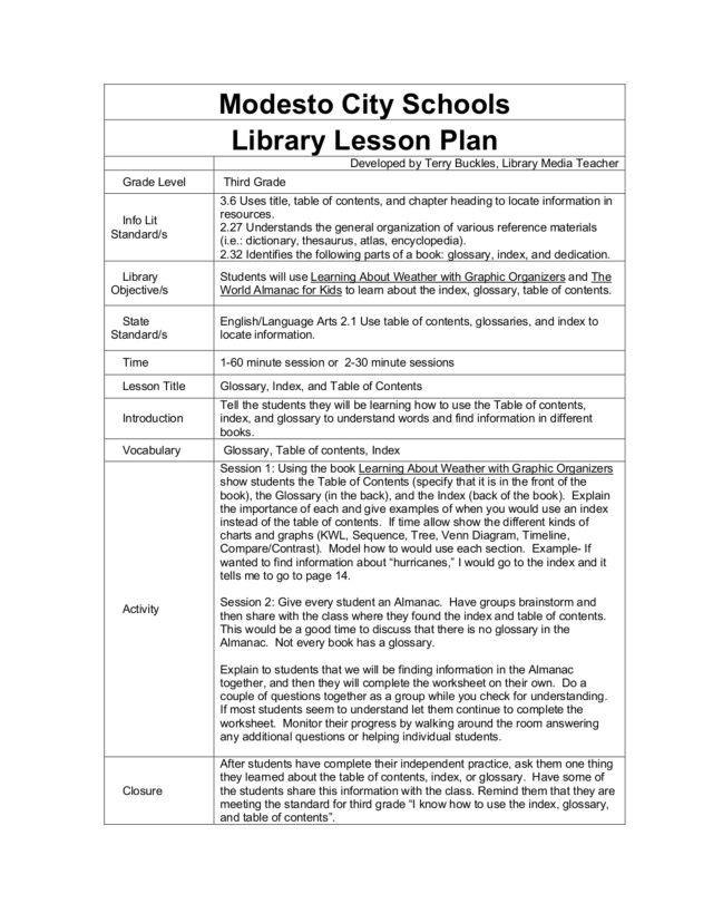 Glossary Index and Table of Contents 4th Grade Lesson Plan – Table of Contents Worksheet