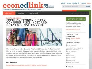 Focus on Economic Data: Consumer Price Index and Inflation, May 19, 2010 Lesson Plan